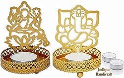 Jodhpur Handicraft Shadow Diya Tealight Candle Holder of Laxmi ji Ganesh ji as Diwali Gift, Corporate Gift with 4 Tealight Candles by OrganoNutri