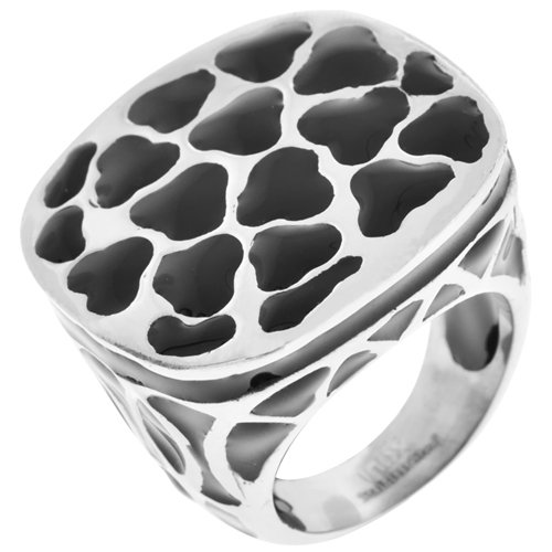 Size 7 - Inox Jewelry Women's Black Resin 316L Stainless Steel Cocktail Ring
