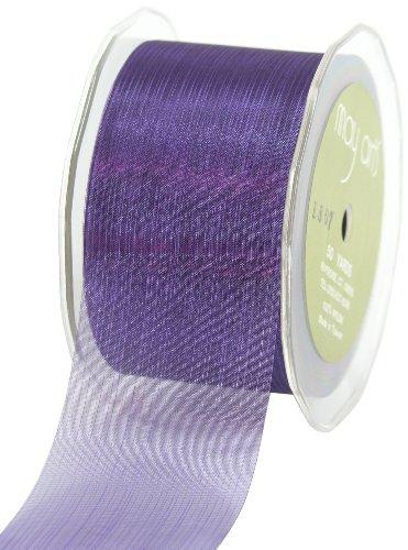 May Arts 2-Inch Wide Ribbon, Purple Sheer Pinstripes