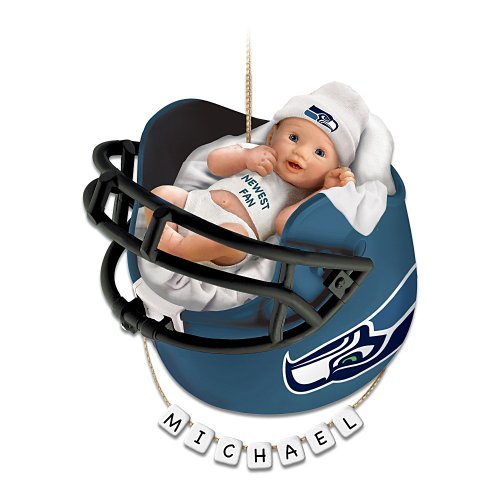 Seattle Seahawks Personalized Baby's First Christmas Ornament by The Bradford Exchange at Amazon.com