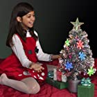Silver Christmas Tree With Color Changing LED Light Decorations