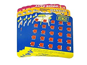 Travel Auto Bingo Roadtrip Game Pack of Four Cards (4 Cards -Assorted Style & Colors)