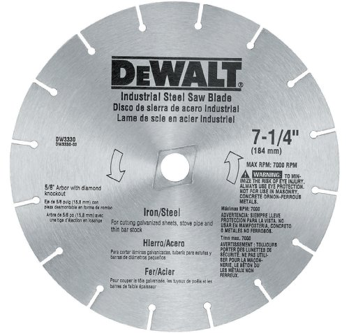 51PXMMrNxQL DEWALT DW3330 7 1/4 Inch Iron and Steel Cutting Segmented Saw Blade with 5/8 Inch and Diamond Knockout Arbor