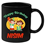 Huppme Happy Birthday Nisim Black Ceramic Mug (350 ml)