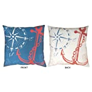 20 Reversible Outdoor Deck and Patio Nautical Ship Anchors Away Throw Pillow