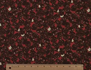 44'' Wide Lucy's Chocolate Factory Candy Red Fabric By The Yard