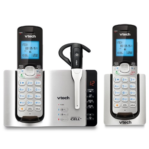 Vtech Ds6671-3 Dect 6.0 2-Handset Connect To Cell Answering System With Cordless Headset