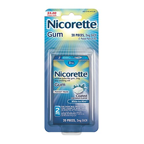 Nicorette Nicotine Gum White Ice Mint 2 milligram Stop Smoking Aid 20 count