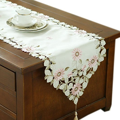 Pretty Daisy Wedding Table Runner Embroidery Pink Flower Table Runner 94.5''