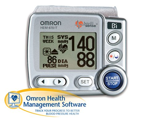 Cheap Omron HEM-670IT Wrist Blood Pressure Monitor with APS (Advanced Positioning Sensor) and Advanced Omron Health Management Software (HEM-670IT)