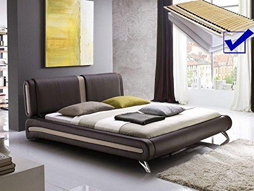 Polsterbett braun komplett Bett 160×200 + Lattenrost + Matratzen Singlebett Designerbett Malin günstig online kaufen