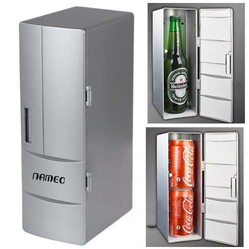 NAMEO Mini USB Fridge, Plug & Play Beverage Drink Cans Cooler Warmer Refrigerator with 2 Switch Modes (Micro Cool Mini Fridge compare prices)