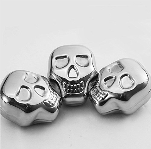 XDOBO Stainless Steel Whiskey Stones with Tongs, Chilling for Wine Beer Juice Drinks (Skull Shaped)