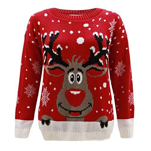 Per bambini a forma di renna Rudolf Natale Natale Maglione Top 2-14 Red 7-8 Anni