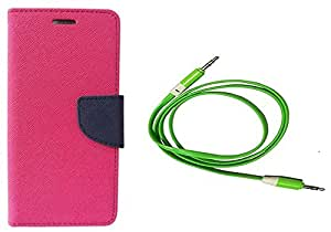 Novo Style Wallet Case Cover For Samsung G355HGalaxy Core 2 Pink + 3 feet Slim 3.5mm Music Record Stereo Audio Auxiliary AUX Cable Cord