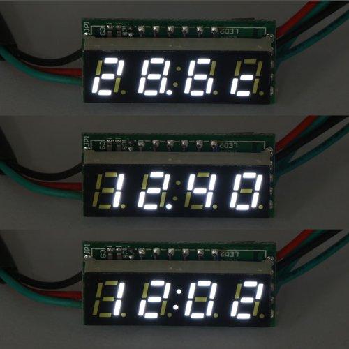 Drok White Led Digital Display Automotive Clock Voltmeter Temp Thermometer Gauge Dc 0-200V Voltage Meter