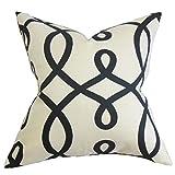 The Pillow Collection P20-D-20996-JET-C55L45 Chloris Geometric Pillow, Black White, 20