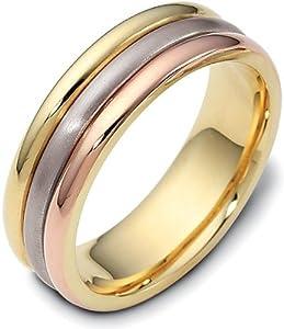 6.5mm 18 Karat Tri-Color Gold Plain Wedding Band Ring - 4