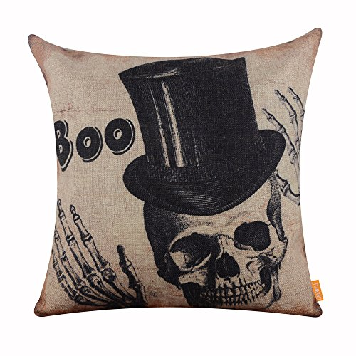 Happy Halloween BOO Skull Burlap Throw Cushion Cover