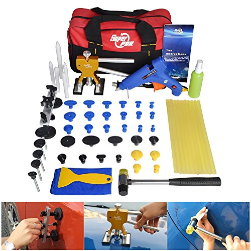 FLY5D 53Pcs Auto Body Paintless Dent Repair Removal Tool Kits Dent Lifter Bridge Glue Puller Kits With Tool Bag (Auto Repair Tool Kit compare prices)