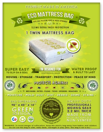 2 Twin Size Mattress Bags. Fits All Pillow Tops And Box Springs. Ideal For Moving, Storage And Protecting Your Mattress. Heavy Duty Professional Grade. Easy To Slip On And Seal. Sleep With Peace Of Mind And Don'T Let The Bed Bugs Bite. Protect Your Invest back-423122