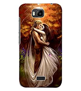 ColourCraft Love Couple Design Back Case Cover for HUAWEI HONOR BEE