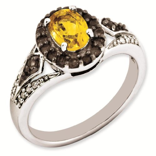 Sterling Silver Genuine Citrine and Smokey Quartz & Diamond Ring