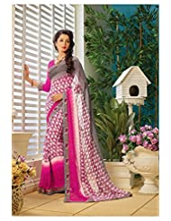 AG Lifestyle Off White & Pink Faux Georgette Saree With Unstitched Blouse AKS2023