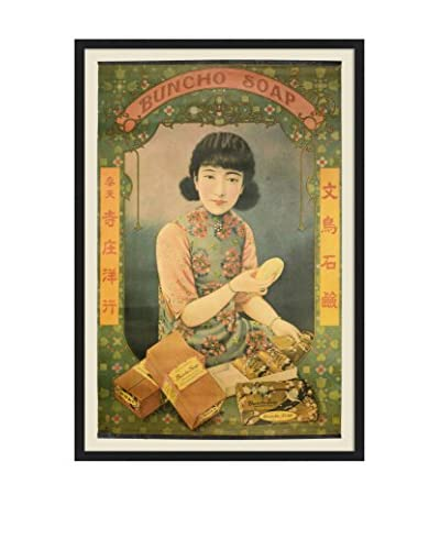 Chinese Vintage Buncho Soap Poster, Multi