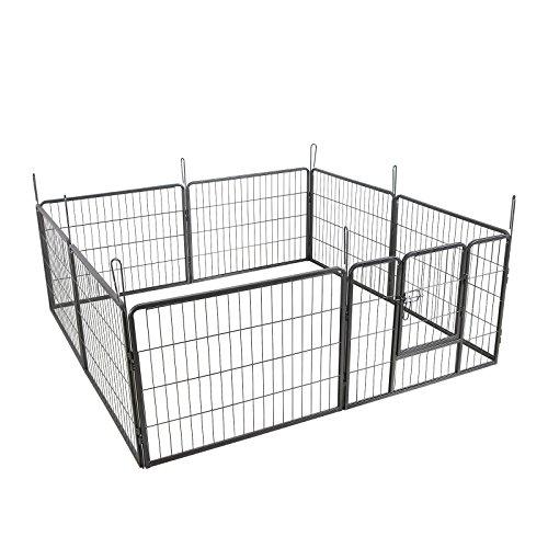 Songmics Recinzione Recinto per Cani Conigli Animali di Ferro 80 x 60 cm Grigio PPK86G