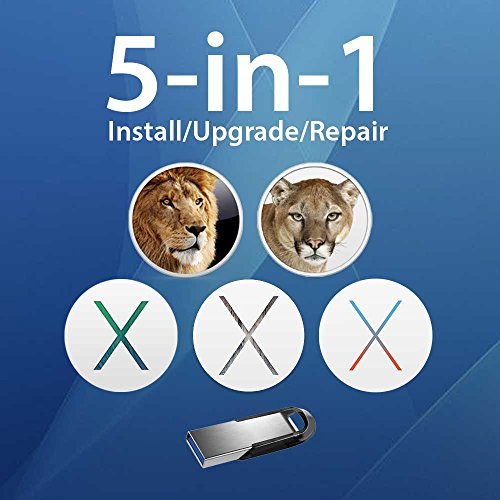 5-in-1 OS X Installer - Lion, Mountain Lion, Mavericks, Yosemite, El Capitan Bootable USB Disk. Instructions included. (Apple Os X Lion Software compare prices)