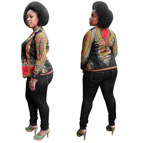 Yasalu Fashion Women Dashiki Long Sleeve African Print Dashiki Short Casual Coa