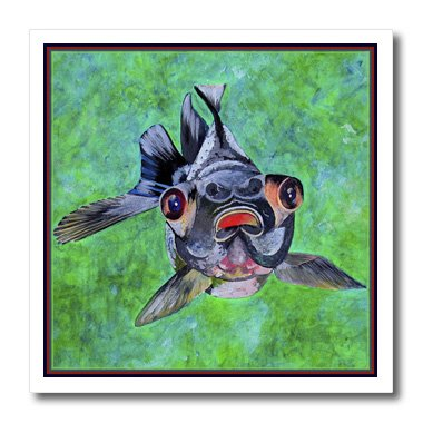 Ht_48473_1 Taiche - Acrylic Painting - Blackmoor Goldfish - Blackmoor Goldfish- Blackmoor Goldfish, Telescope Goldfish, Goldfish, Dragon Eye Goldfish - Iron On Heat Transfers - 8X8 Iron On Heat Transfer For White Material