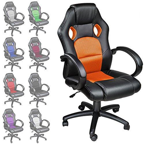 TecTake-Sportsitz-Chefsessel-Stuhl-Brostuhl-Racing-Schalensitz-diverse-Farben-Orange