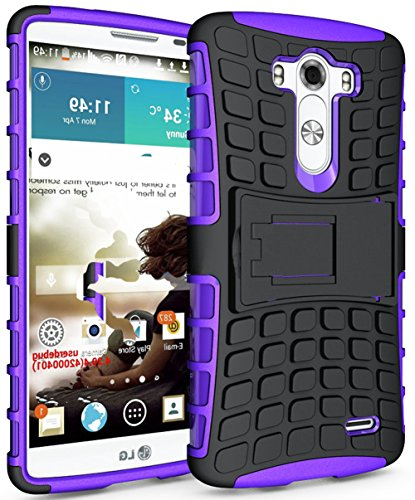 Mylife Grape Purple {Dual Layer Kickstand Design} 2 Piece Hybrid Reflex Case For The Lg G3 Smartphone (Outer Rubberized Fit On Protector Shell + Internal Silicone Secure-Grip Bumper Gel) front-47943