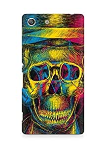 Amez designer printed 3d premium high quality back case cover for Sony Xperia M5 (Colorful Overlap Skull In Hat Design Art)