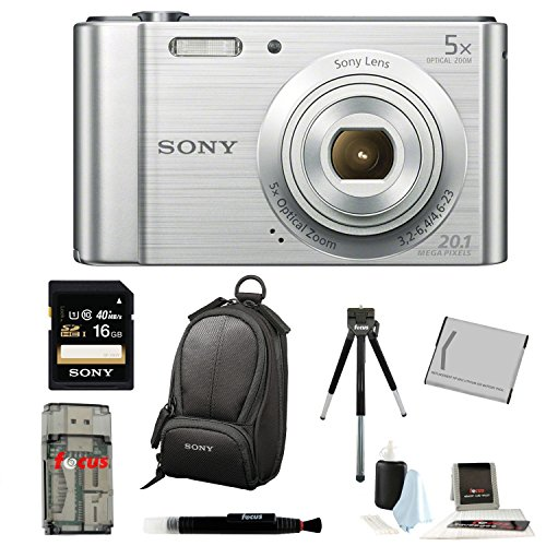 Sony Cyber-shot DSC-W800 DSCW800/S DSCW800 Point and Shoot Digital Still Camera (Silver) + Sony 16GB Memory Card + All in One High Speed Card Reader + Rechargeable Battery + Accessory Kit