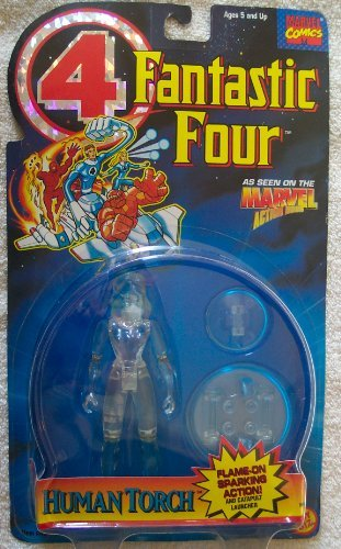 1995 Fantastic Four 4 Invisible Woman Error Packaged As Human Torch Action Figure Rare