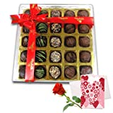 Valentine Chocholik's Belgium Chocolates - Perfect Chocolate Treat For Any Occasion With Love Card And Rose