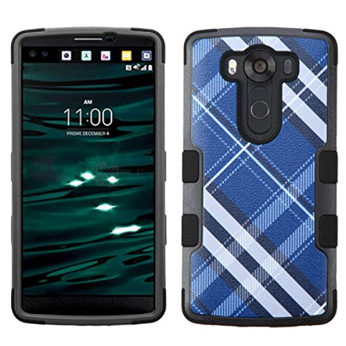MyBat Carrying Case for LG-H901 - Retail Packaging - Blue Diagonal Plaid/Black