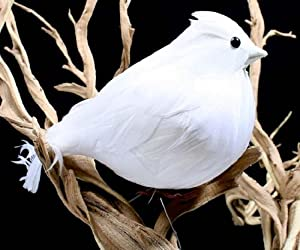 Large Snow White Plump Fat Artificial Birds for Christmas Tree