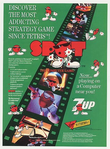 '91 7Up Spot Computer Game Virgin Mastertronic Print Ad