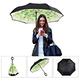 Aweoods Double Layer Inverted Umbrella Cars Reversible Umbrella (Grape Leaf)