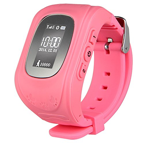 Padgene Mini Child Bracelet GPS Watch Hiking GPS Tracking Device Quad-band Smartwatch Wrist Watch Activity Tracker LED Watch SOS Mobile Phone Alarm Clock Child Anti-lost Locator Dial Call Bluetooth Watch GSM Sim For Android IOS Anti-lost (Pink)
