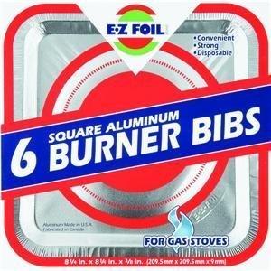 E-Z Foil/Pactiv 6 Pack Square Aluminum Foilware Gas Burner Bib For Stove,8 1/4Inch. X 8 1/4. 3/8 Inch front-619850