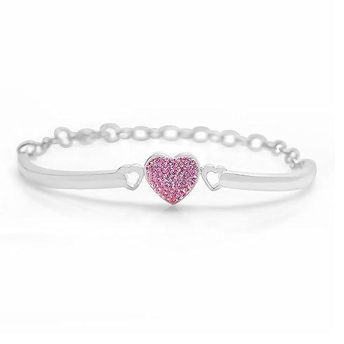 Kids Pink Heart White Gold Toned Bangle Bracelet Set on a Clay Base Kids, Children, Baby, Girls