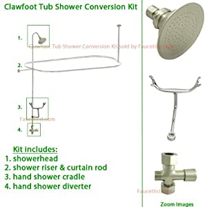 satin nickel clawfoot tub shower conversion kit with