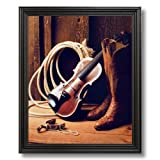 Cowboy Boots Fiddle Spur Rope Western Rodeo Home Decor Wall Picture Black Framed Art Print