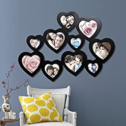 Decorative Black Wood Hearts Wall Hanging Collage Photo Frame with 10 Openings