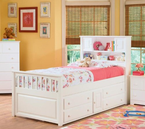 Full Size Captain's Bed with Underbed 4 Storage Drawer Chest White Finish